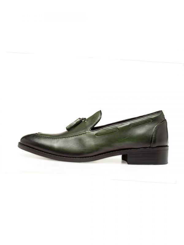 Bomb Green Tassel Slip On Shoe
