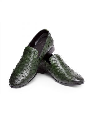 Venti Green Interlace Loafer Slip On Shoe Slipper