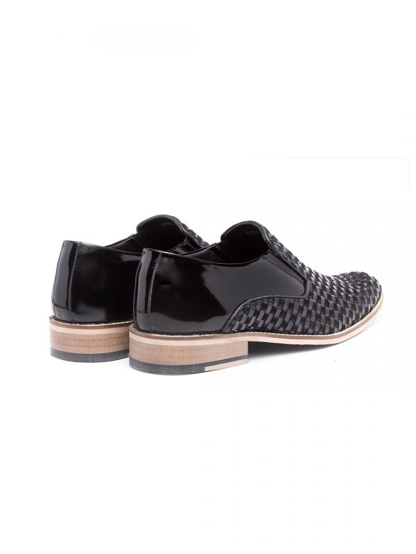 Stephen Black Interlace Slip On Loafer Shoe