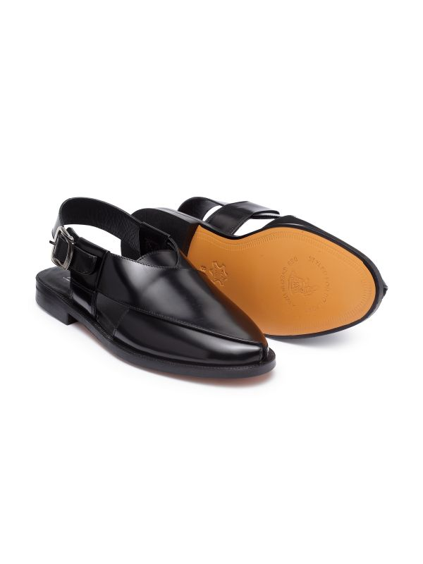 Black Peshawari Sandal with Leather Sole
